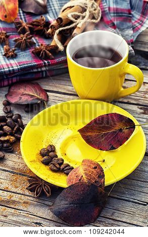 Black Coffee In Yellow Cup