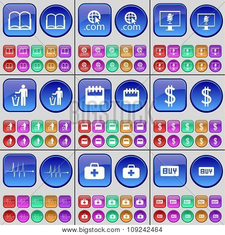 Book, Domain, Monitor, Silhouette, Calendar, Dollar, Pulse, First-aid Kit, Buy. A Large Set Of