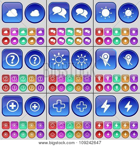 Cloud, Chat, Light, Question Mark, Light, Checkpoint, Plus, Flash. A Large Set Of Multi-colored