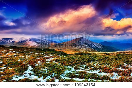 Panorama Sunset In The Carpathian Mountains