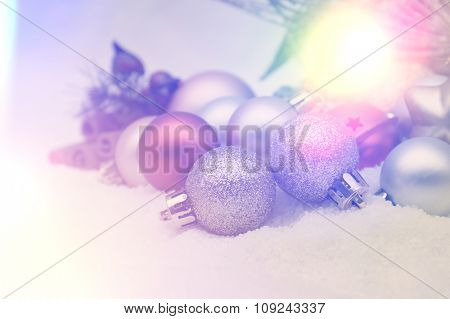 Retro styled Christmas background with decorations