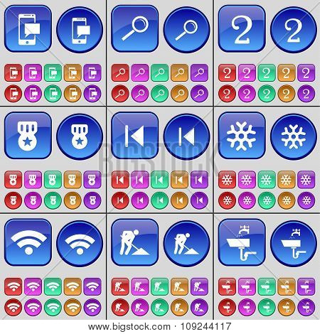 Sms, Magnifying Glass, Two, Medal, Media Skip, Snowflake, Wi-fi, Road Works, Tap. A Large Set Of Mul