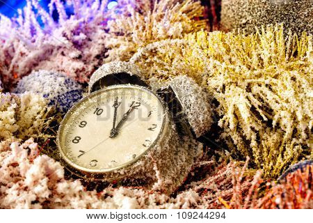 Snowy Christmas still life with clock