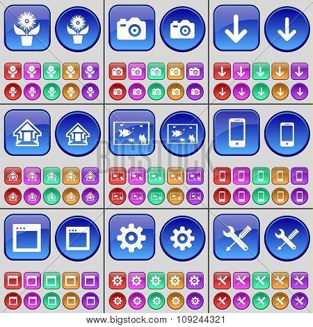 Folder, Camera, Arrow Down, House, Aquarium, Smartphone, Window, Gear, Wrench. A Large Set Of