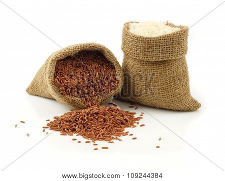 Red And White Rice Grain On White Background
