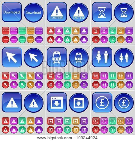 Download, Caution, Hourglass, Cursor, Train, Silhouette, Warning, Window, Pound. A Large Set Of