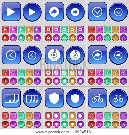 Media Play, Redo, Arrow Down, Arrow Left, Disk, File, Badge, Bicycle. A Large Set Of Multi-colored
