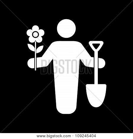 The gardener avatar icon. Gardening and agriculture, garden symbol. Flat