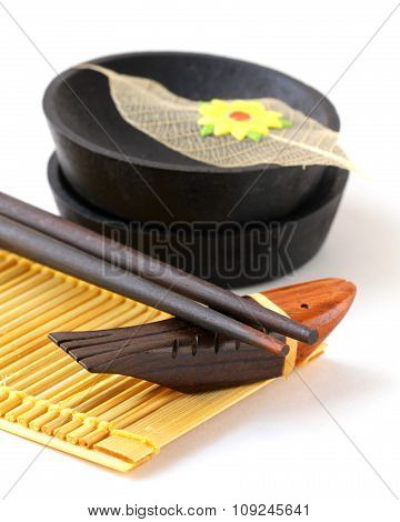 Japanese utensils - chopsticks and dishes for sauce