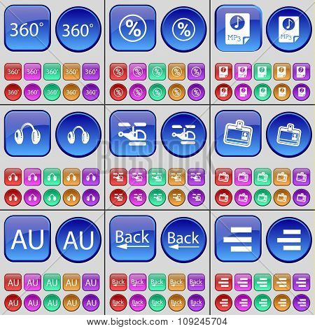 360, Percent, Mp3, Headphones, Helicopter, Contact, Au, Back, List. A Large Set Of Multi-colored