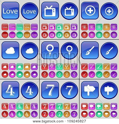 Love, Tv, Plus, Cloud, Checkpoint, Brush, Four, Seven, Sign. A Large Set Of Multi-colored Buttons.