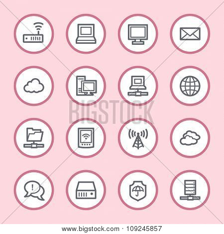 Cloud computing and internet, desktop and laptop, wireless and network, server and folder, icons set