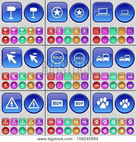 Sign, Star, Laptop, Cursor, Sold, Transport, Warning, Buy, Paw. A Large Set Of Multi-colored