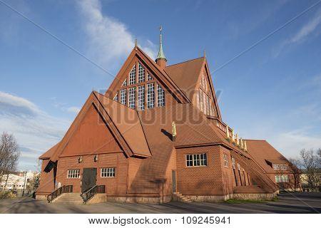 Church In Kiruna, Sweden, During A Late Summer Evening.