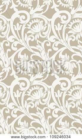 Seamless Floral Background With Swirls And Flowers