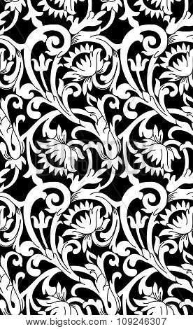Black And White Seamless Floral Background
