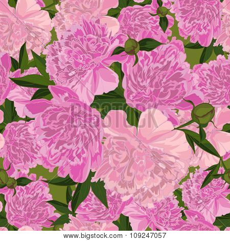 Abstract texture with pink peony  in realistic style