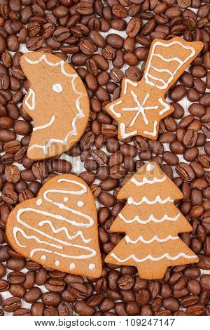 Fresh Baked Decorated Gingerbread And Coffee Grains, Christmas Time