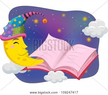 Illustration of the Moon Wearing a Nightcap While Reading a Book - eps10