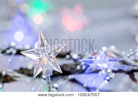 Christmas Festive Background With Star Lights