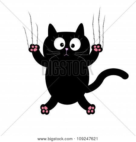 Cartoon Black Cat Claw Scratch Glass. White Background. Isolated. Flat Design.