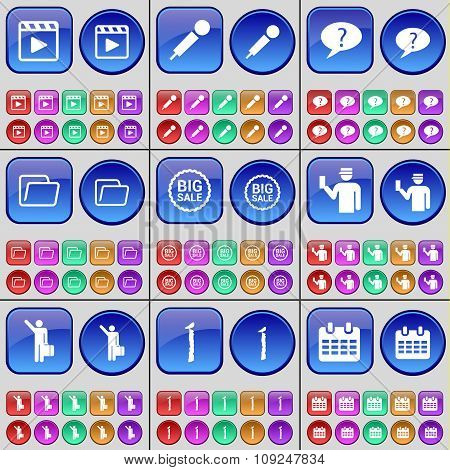 Media Player, Microphone, Chat Bubble, Folder, Big Sale, Silhouette, One, Calendar. A Large Set Of