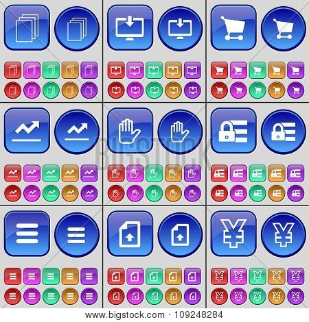 Files, Monitor, Shopping Cart, Graph, Hand, Lock, Apps, File, Yen. A Large Set Of Multi-colored