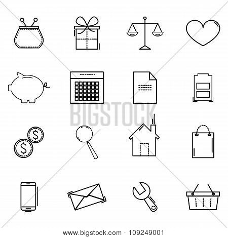 Set Icons Of Business, Shopping, Office Work, Economics, Finance. Vector Illustration