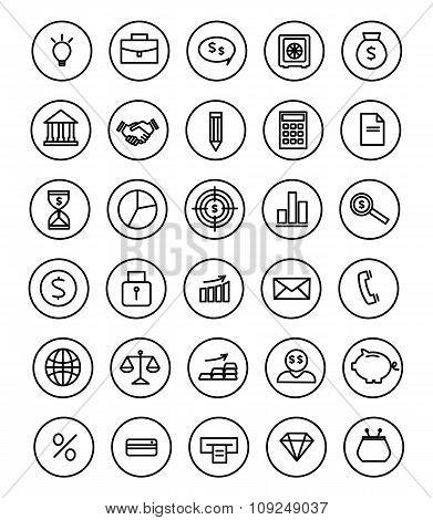 Money, Finance,  Line Flat Design Icons Set Vector
