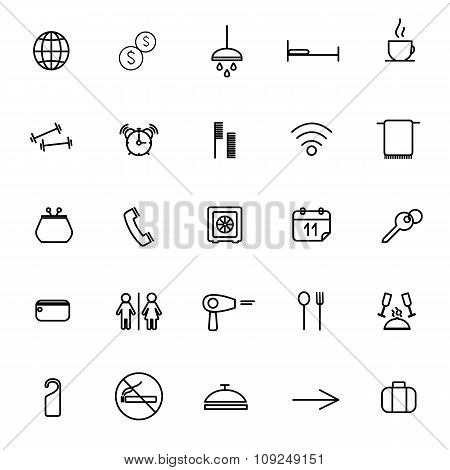 Icons Of Hotel Service, Vacation, Tourism, Vector Illustration