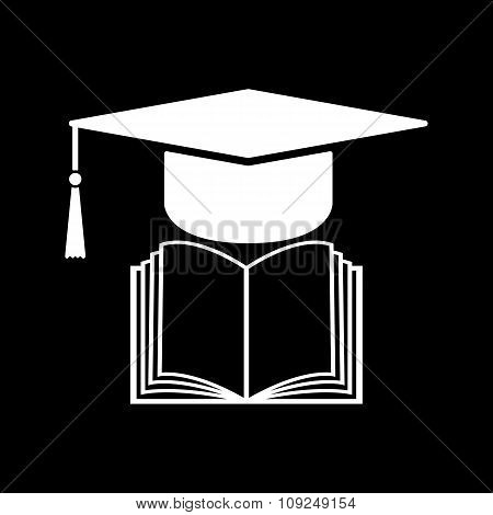 The graduation cap and book icon. School and university, learning, education symbol. Flat
