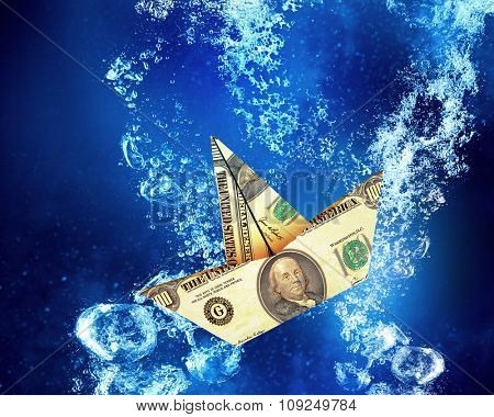 Dollar banknote ship sinking in clear blue water