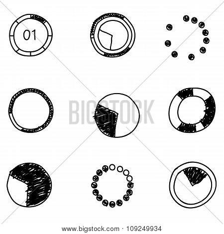 Doodles Icons. Set Of  Circle Diagram. Business Chart Elements. Vector Illustration