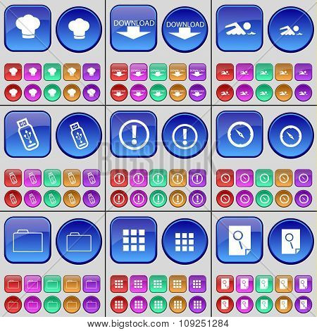 Cooking Hat, Download, Swimmer, Usb, Warning, Compass, Folder, Apps, Note. A Large Set Of Multi-
