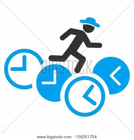 Gentleman Running Over Clocks Icon