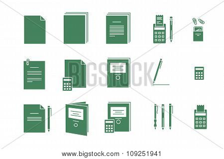Green Vector Icons For Computer Paper Office