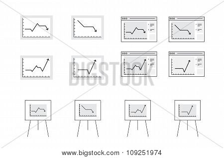 Vector Icons For Computer Presentation Of Dynamic Graph Growth