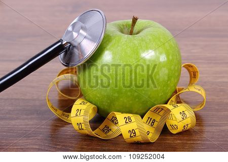 Stethoscope, Fresh Apple And Centimeter, Healthy Lifestyles And Nutrition