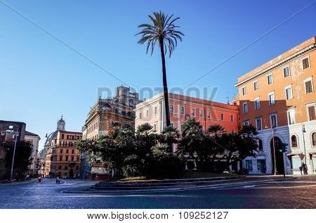 Beautiful street view of old town in Rome, ITALY