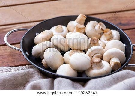 Raw Champignon In Frying Pan