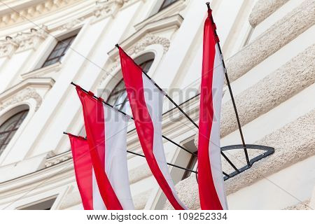 Flags Of Vienna City In Austria