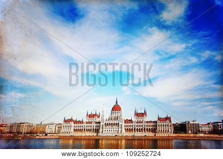 building of Parliament in Budapest, Hungary, Europe