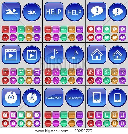 Swimmer, Help, Chat Bubble, Media Player, Note, House, Disk, Halloween, Mobile Phone. A Large Set