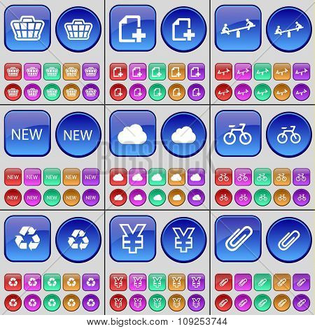 Basket, File, Swing, New, Cloud, Bicycle, Recycling, Yen, Clip. A Large Set Of Multi-colored