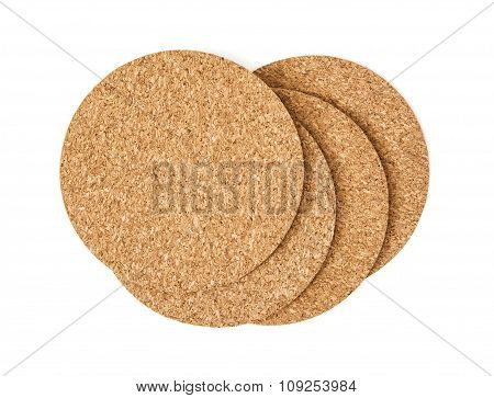 Isolated Cork Drink Coasters