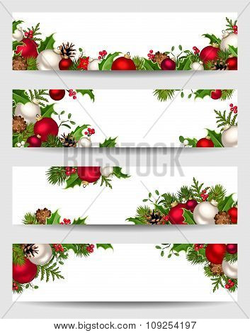 Vector banners with red, white and green Christmas decorations.