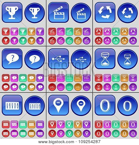 Cup, Clapper, Recycling, Chat Bubble, Usb, Hourglass, Equalizer, Checkpoint, Zero. A Large Set Of