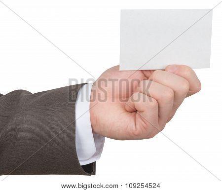 Businessman holding empty card