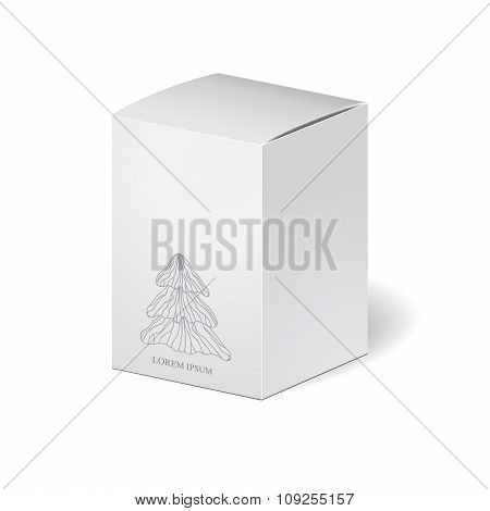 Cardboard Package Isolated Box With Winter Pattern On The White Background. Mock Up, Template. Stock
