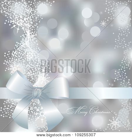 Greeting Christmas Card In Gray And Blue Colors